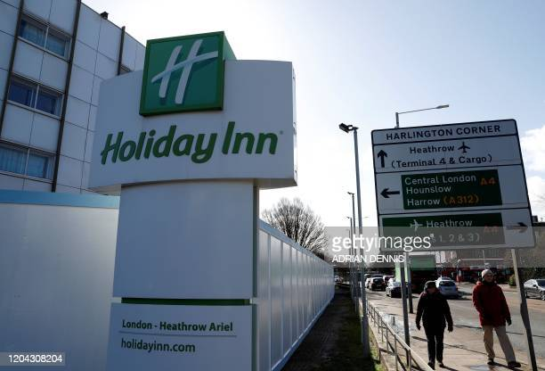 The Holiday Inn hotel, close to Heathrow Airport, west of London is pictured on March 1, 2020. - Britain's Department of Health has block-booked a...