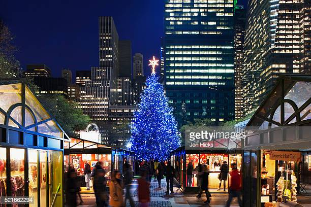 the holiday market in bryant park. - bryant park stock pictures, royalty-free photos & images