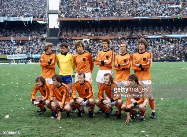 The Holland team pose for photographers prior to the FIFA World Cup Final between Argentina and Holland at the Estadio Monumental in Buenos Aires...