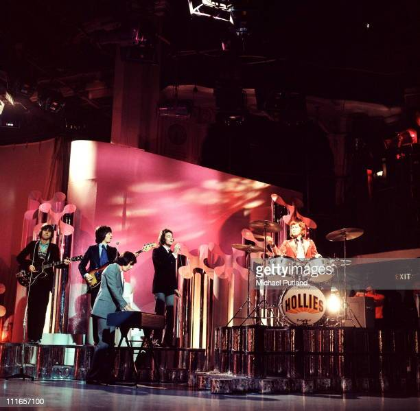 The Hollies perform on a TV show circa 1974