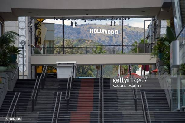 The Hollywod and Highland mall stairs are pictured in Hollywood on March 20 a day after Los Angeles County announced a near-lockdown, urging all...