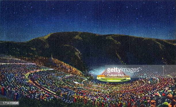 The Hollywood Bowl Hollywood California Postcard titled 'The Symphony Under The Stars' of concert performance Outdoor amphitheatre in Hollywood...