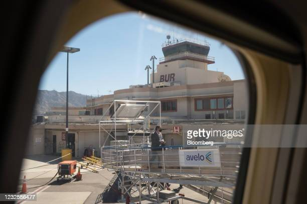 The Hollywood Burbank Airport through the window of a Boeing Co. 737-800 aircraft in Burbank, California, U.S., on Wednesday, April 28, 2021. New...
