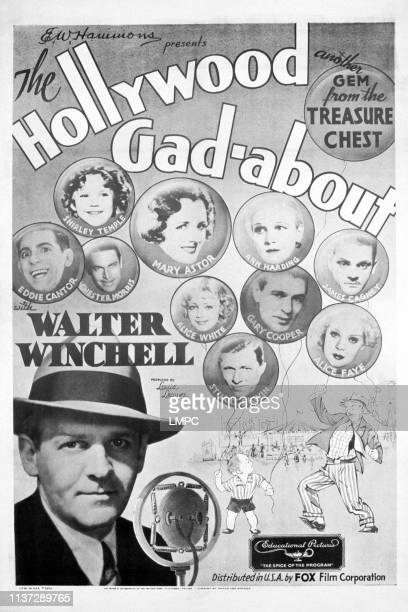 The Hollywood Gadabout poster top from left Eddie Cantor Shirley Temple Chester Morris Mary Astor Ann Harding James Cagney center from left Alice...