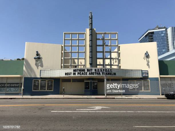 The Hollywood Palladium marquee pays tribute to Aretha Franklin in Hollywood California on August 17 2018 Photo by Jim Steinfeldt/Michael Ochs...