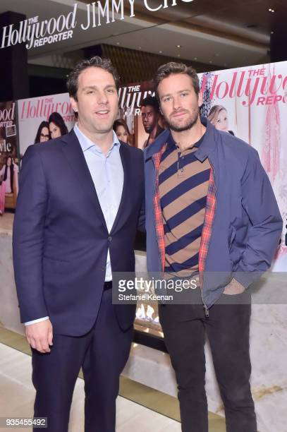 The Hollywood Reporter Editorial Director Matthew Belloni and Armie Hammer attend The Hollywood Reporter and Jimmy Choo Power Stylists Dinner on...
