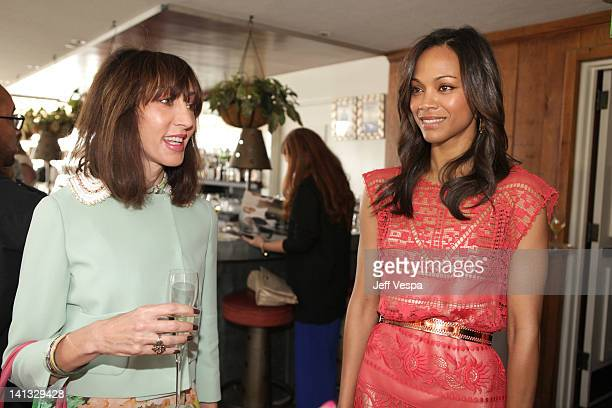 The Hollywood Reporter Senior Writer Merle Ginsberg and actress Zoe Saldana attend the The Hollywood Reporter & Jimmy Choo Inaugural 25 Most Powerful...