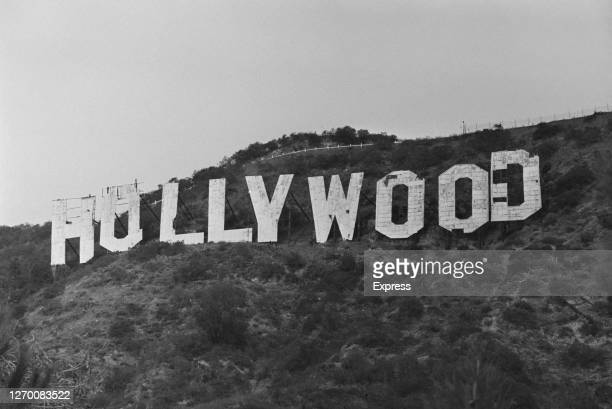 The Hollywood sign on Mount Lee in the Hollywood Hills, overlooking Hollywood in Los Angeles, California, 7th December 1972.