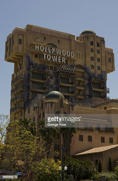 The Hollywood Tower Hotel roller coaster thrill ride in Disney's California Adventure is viewed in this 2010 Anaheim California spring afternoon photo