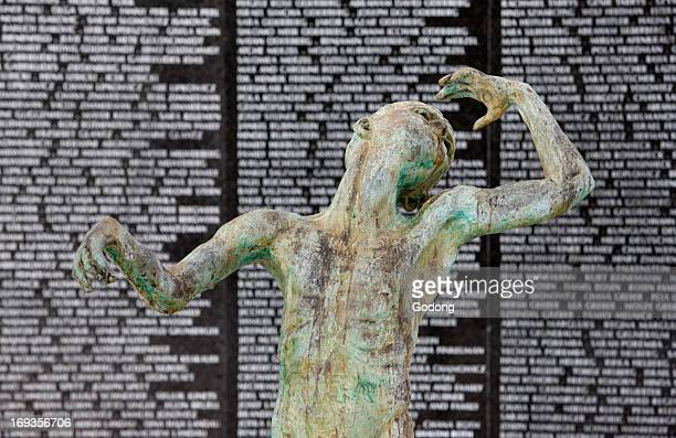 The Holocaust Memorial Miami Beach Detail of A sculpture of Love and Anguish by Kenneth Treister