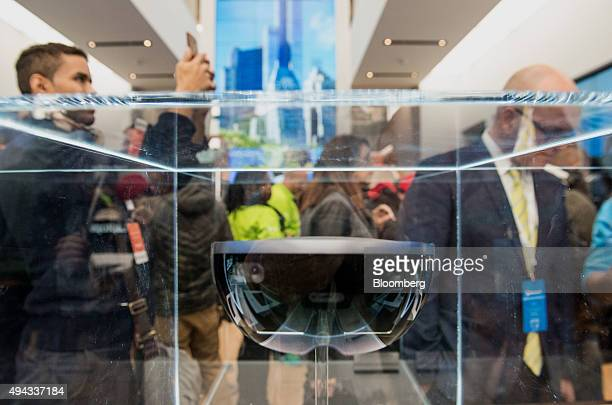 The HoloLens augmented reality headset is displayed during the opening of the first Microsoft Corp store in New York US on Monday Oct 26 2015 In the...