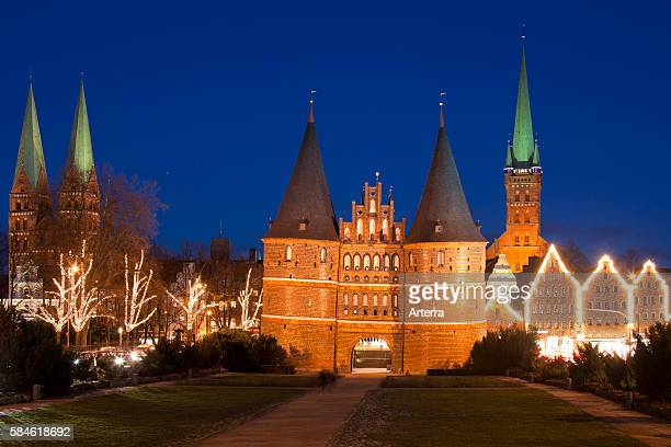 The Holsten Gate / Holstein Tor / Holstentor at Christmas in the Hanseatic City of Luebeck Germany