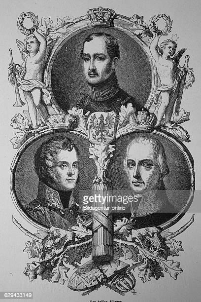emperor alexander of russia king frederick william of prussia emperor francis of austria woodcut from 1880