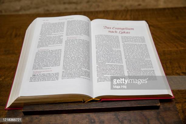 The Holy Bible stands at the Chapel of Reconciliation as it is open for visitors on Easter Sunday on April 12 2020 in Berlin Germany As churches and...