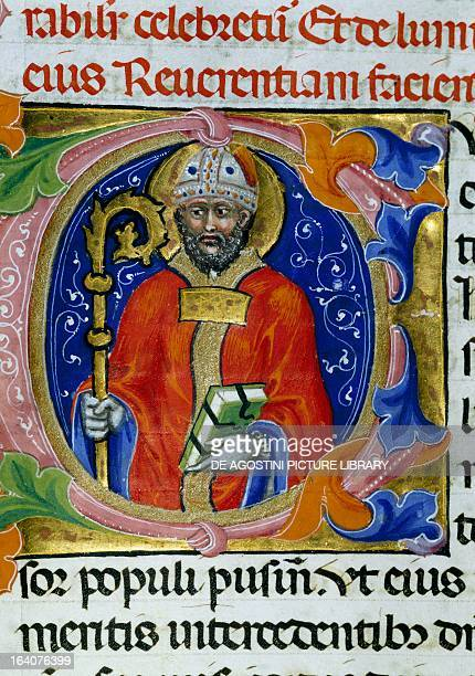 The Holy Bishop Ercolano miniature from the statutory register of Bankers manuscript Italy 14th century Perugia Biblioteca Augusta
