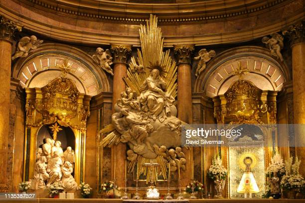 The Holy Chapel of the Basílica de Nuestra Señora del Pilar, with the wooden statue of the Virgin Mary on a column set in a golden frame, on October...