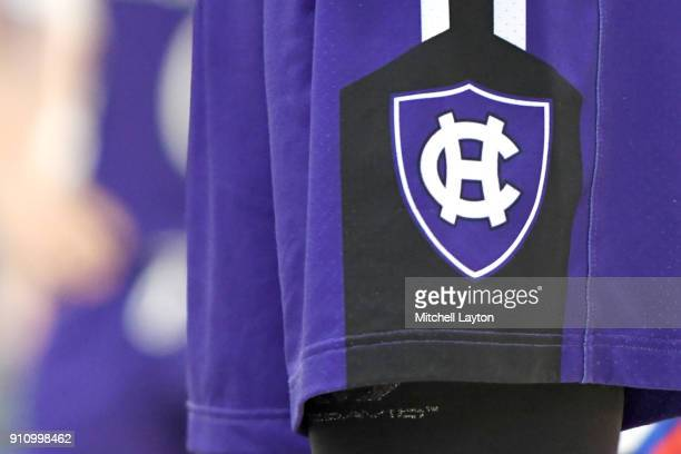The Holy Cross Crusaders logo on a pair of shorts during a college basketball game against the American University Eagles at Bender Arena on January...