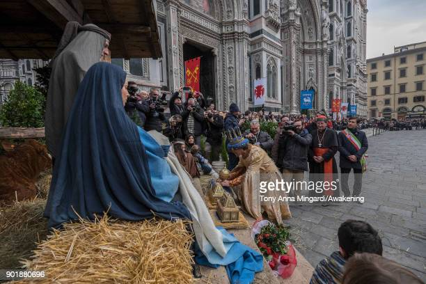 The Holy Family receives the Wise's gifts during the traditional Three Wise parade which begins at Pittis Square and goes up to Cathedral Square on...