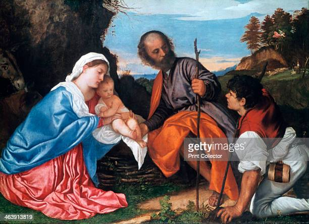 'The Holy Family with a Shepherd' c1510 From the National Gallery London