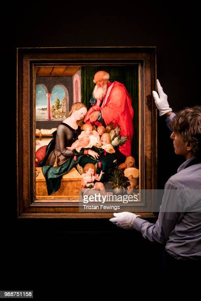 The Holy Family with Five Angels by Hans Baldung Grien goes on display as part of the Old Masters Exhibition at Sotheby's on June 29 2018 in London...