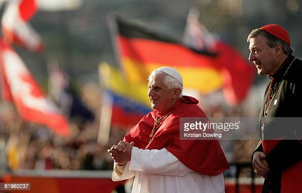The Holy Father Pope Benedict XVI addresses the Pilgrim Crowd at the Papal Welcome Ceremony at Barangaroo on Sydney Harbour on July 17 2008 in Sydney...