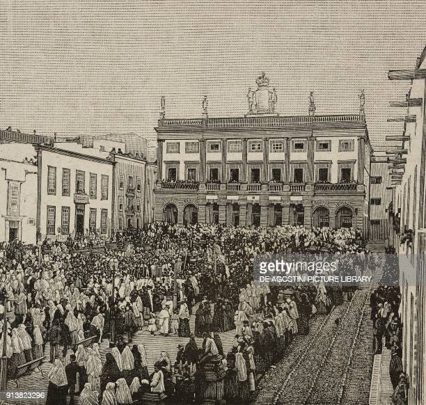 The Holy Friday Procession in front of the Town Hall in Cathedral Square, Las Palmas, Gran Canaria, Spain, engraving from L'Illustrazione Italiana,...