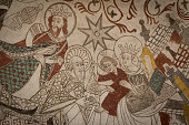The Holy Kings give their gifts to the christchild, a Fresco