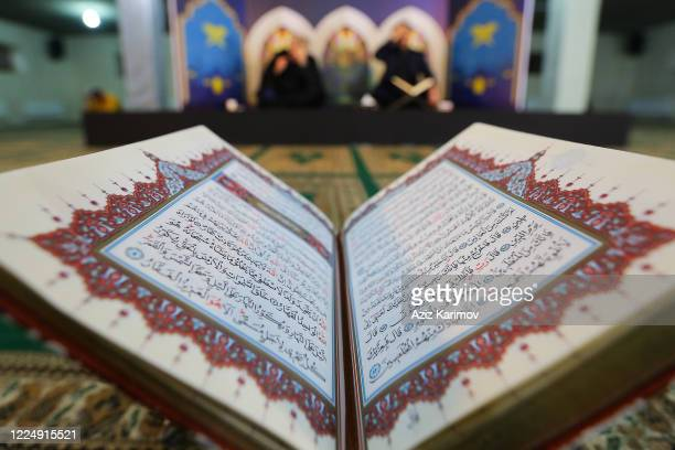 The holy Koran is displayed at the FatimeyiZahra mosque on May 14 2020 Baku Azerbaijan Access to all boulevards parks mosques and recreation areas...