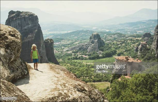 the holy monastery of roussanou at meteora, thessaly, greece. - thessaly stock pictures, royalty-free photos & images