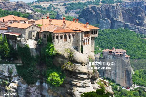 the holy monastery of varlaam, trikala, in summer,travel, island, greece - meteora stock pictures, royalty-free photos & images