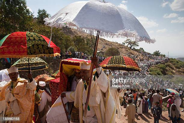 The Holy Tabots of Moses contained into the Ark of the Covenant are ceremoniousl brought out of the churches during Timkat festival in Lalibela...