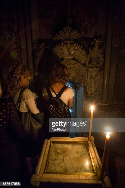The Holy Tomb of Jesus inside the Church of the Holy Sepulchre in Jerusalem Research and construction work has been made from the National Technical...
