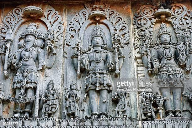 the holy trinity: brahma, vishnu, shiva - vishnu stock photos and pictures