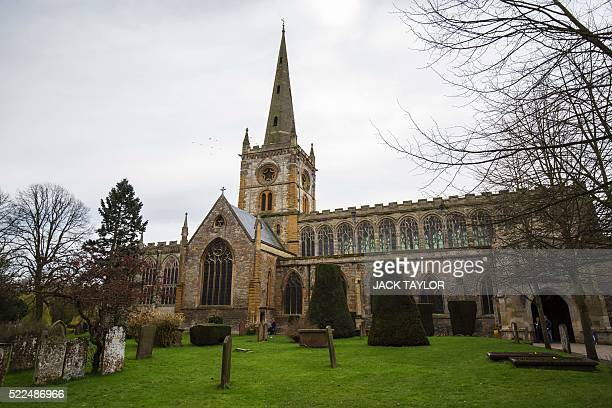 The Holy Trinity Church where British poet and playwright William Shakespeare is buried is pictured in StratforduponAvon central England on April 12...