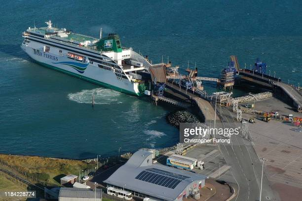 The Holyhead to Dublin ferry Ulysses operated by Irish Ferries leaves port on October 29 2019 in Holyhead Wales Holyhead Ferry Port is one of the...