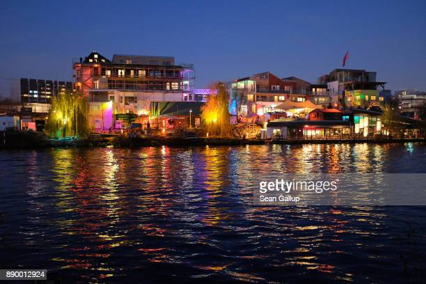 The Holzmarkt development stands illuminated on November 29 2017 in Berlin Germany Billed as an alternative development the project which stands on...