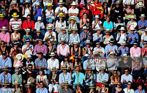 The home crowd reacts as Rafael Nadal of Spain scores a point against Roger Federer of Switzerland in their final match during the Mutua Madrilena...