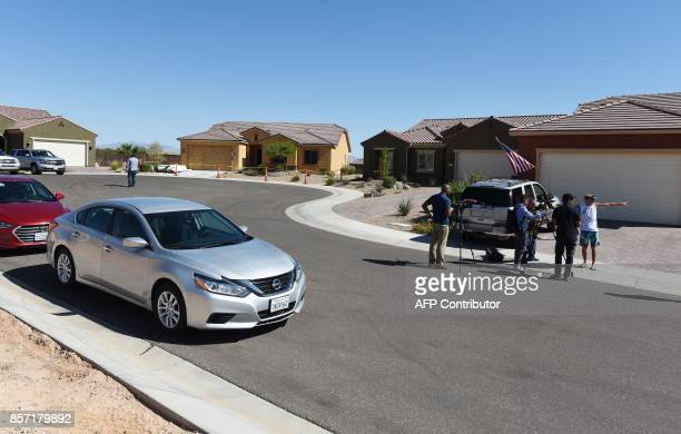 The home mass murderer Stephen Paddock is encircled in police tape in Mesquite Nevada October 3 2017 Stephen Paddock killed 59 people and wounded...