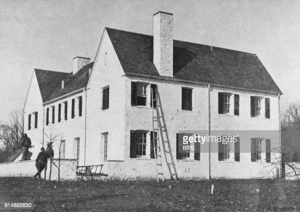 The home of American aviator Charles Lindbergh in Highfields New Jersey during a police reconstruction of the kidnapping of Lindbergh's infant son...