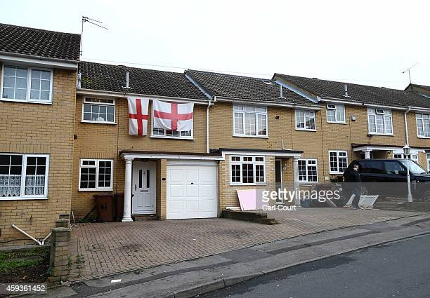 The home of Dan Ware is draped in two St George flags on November 21 2014 in Rochester England The site was photographed in a controversial tweet by...