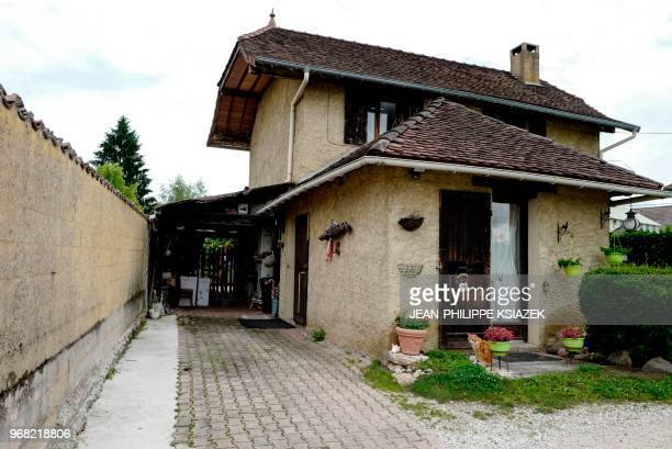 The home of French confessed murderer Nordhal Lelandais' parents is pictured after it was searched by French gendarmes on June 6, 2018 in the French...