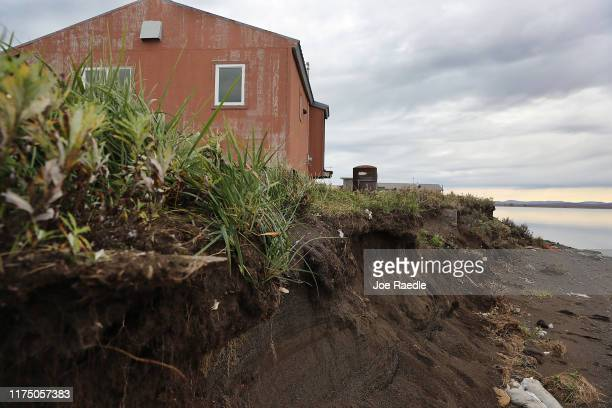 The home of Ikey Hank is dangerously close to the eroding permafrost banks on the lagoon on September 15, 2019 in Kivalina, Alaska. Kivalina is...