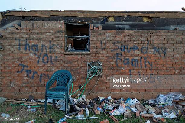 The home of Jerry, who saved his neighbor's life by finding room in his storm shelter for one more. Taken in Moore, Oklahoma following the tornado...