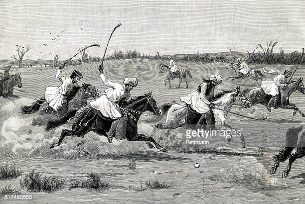 The Home of PoloNatives of Manipur playing the National game Illustration shows men on horseback chasing after a white ball with clubs on a field...