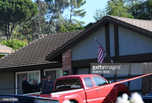 The home of suspected nightclub shooter Ian David Long is cordoned by red tape on November 8 2018 in Thousand Oaks California The gunman who killed...