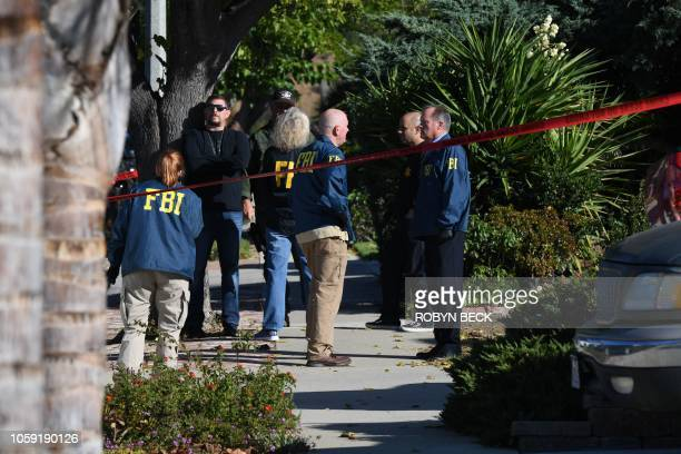 The home of suspected nightclub shooter Ian David Long is cordoned with red crime tape on November 8 2018 in Thousand Oaks California as FBI and ATF...