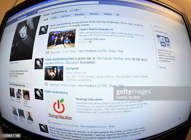 The home page for Facebook founder Mark Zuckerman is seen on October 18 2010 Many popular applications on Facebook are violating the social network's...