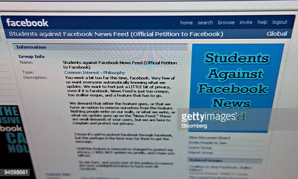 The home page of the facebook group ``Students Against Facebook News Feed'' is arranged for a photograph on a computer screen in New York Thursday...