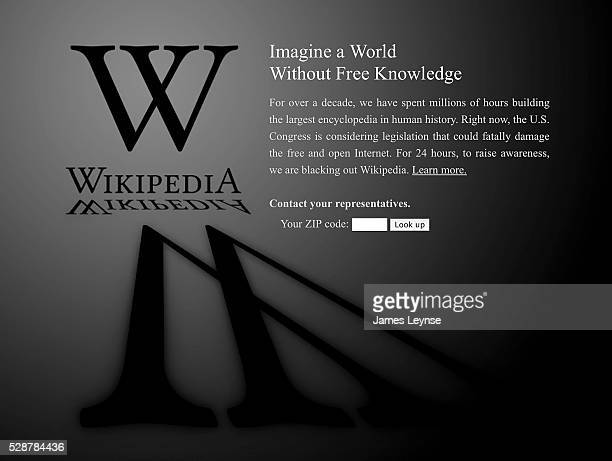 The home page of Wikipedia blacked out in protest over SOPA and PIPA two online antipiracy bills currently under consideration on Capitol Hill Google...