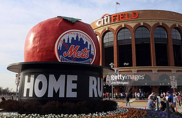 The home run apple is seen before the New York Mets play the Florida Marlins on April 7 2010 at Citi Field in the Flushing neighborhood of the Queens...